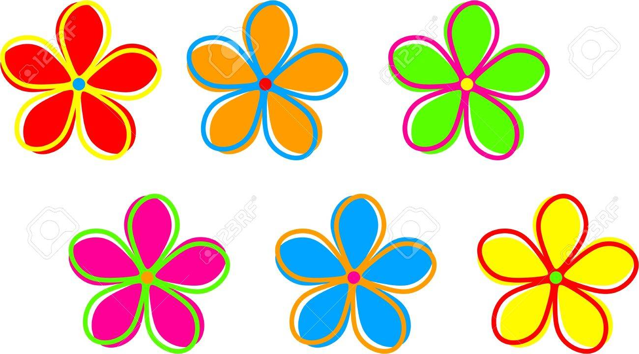Cute and colourful funky retro flowers isolated on a white background..