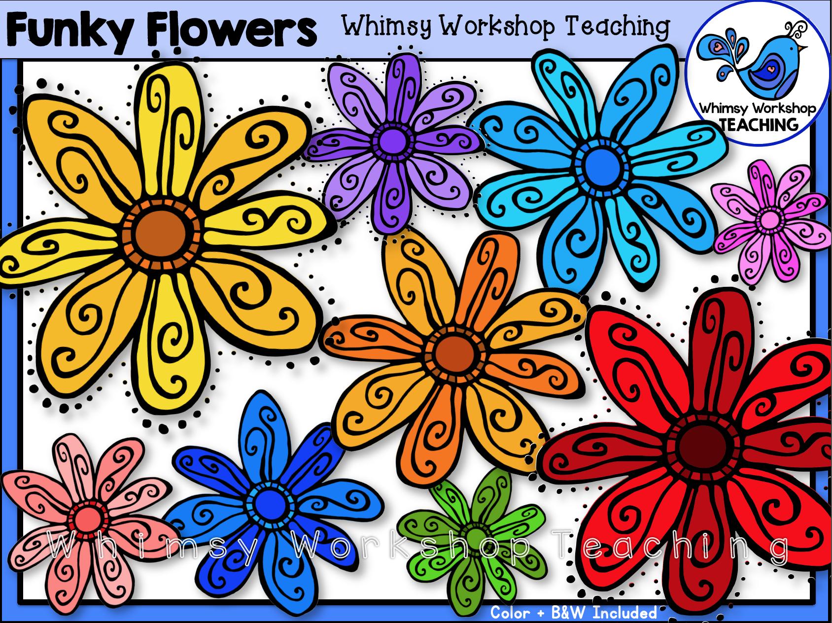Funky Flowers Clip Art (Free!).