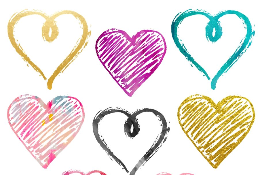 Funky Valentine Heart Clipart Set.