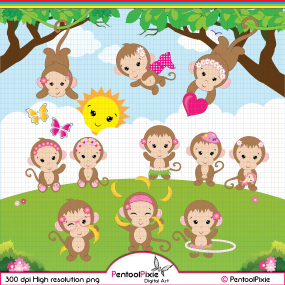 Monkey Clipart, Monkey Girl clipart, Cute Monkey clipart, Baby Girl.