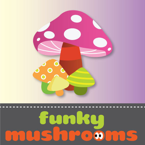 Funky Mushrooms Party Supplies by funkymushrooms on Etsy.