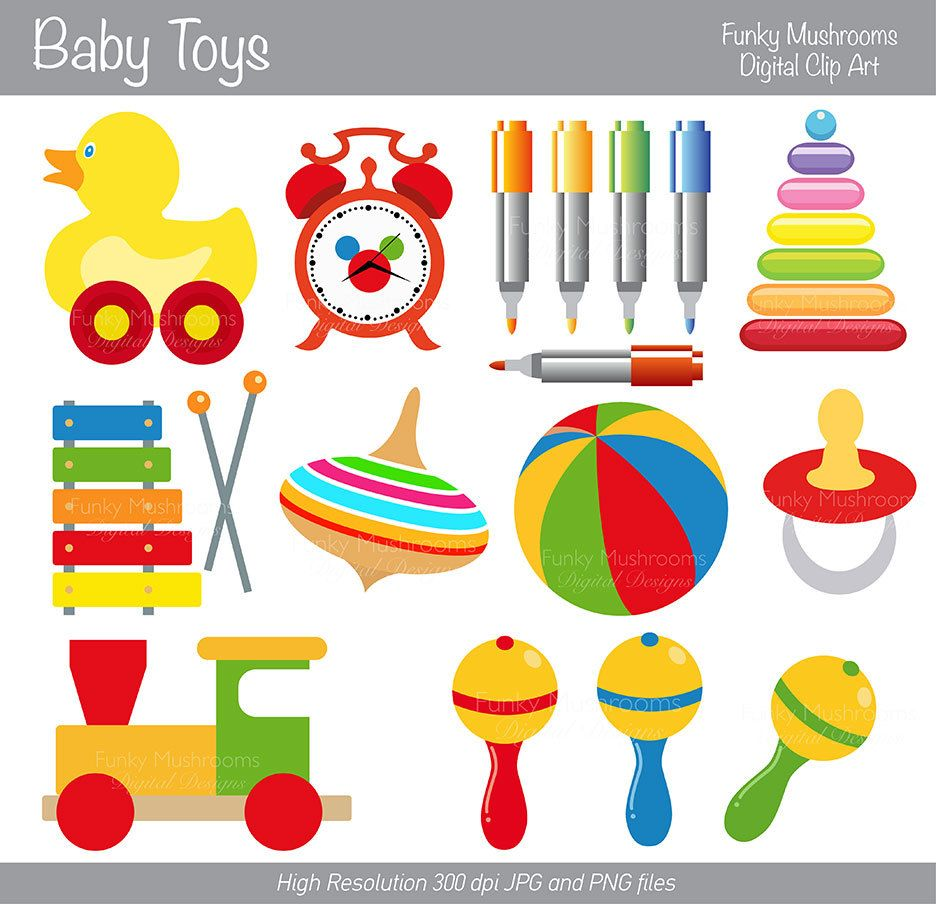 Digital Clipart Baby Toys for Scrapbooking by funkymushrooms, €2.80.
