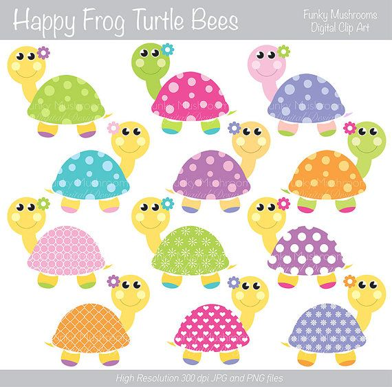 Digital Clipart Colorful Turtle for by funkymushrooms on Etsy, €2.20.