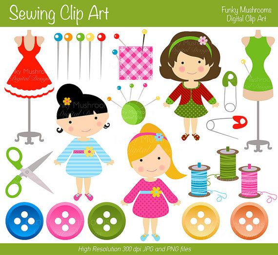 Digital clipart Sewing clip art buttons for by.