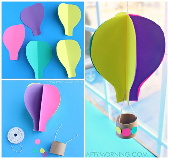 Spinning 3D Hot Air Balloon Craft for Kids to Make.