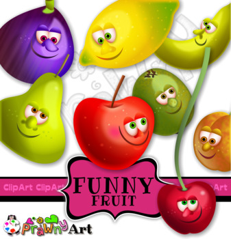 Cartoon Fruit Character Clip Art Set.