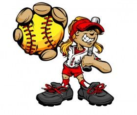 funny cartoon Baseball player vector 05.
