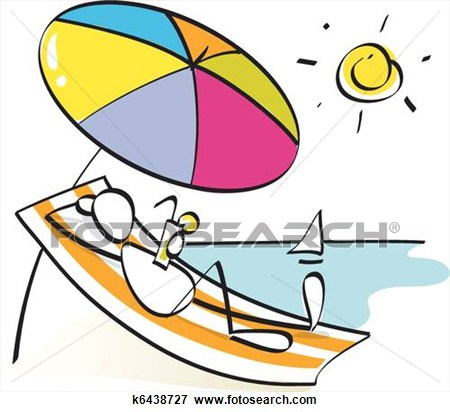 Laying On The Beach Clipart.