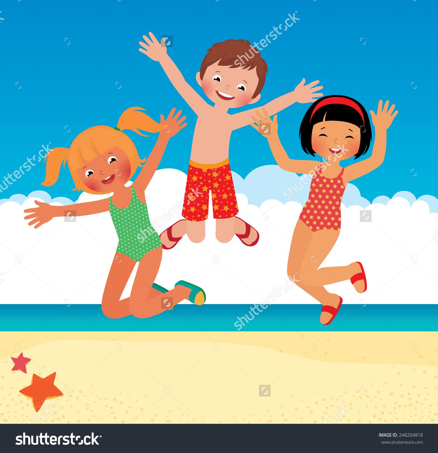 Showing post & media for Beach fun clip art cartoon.