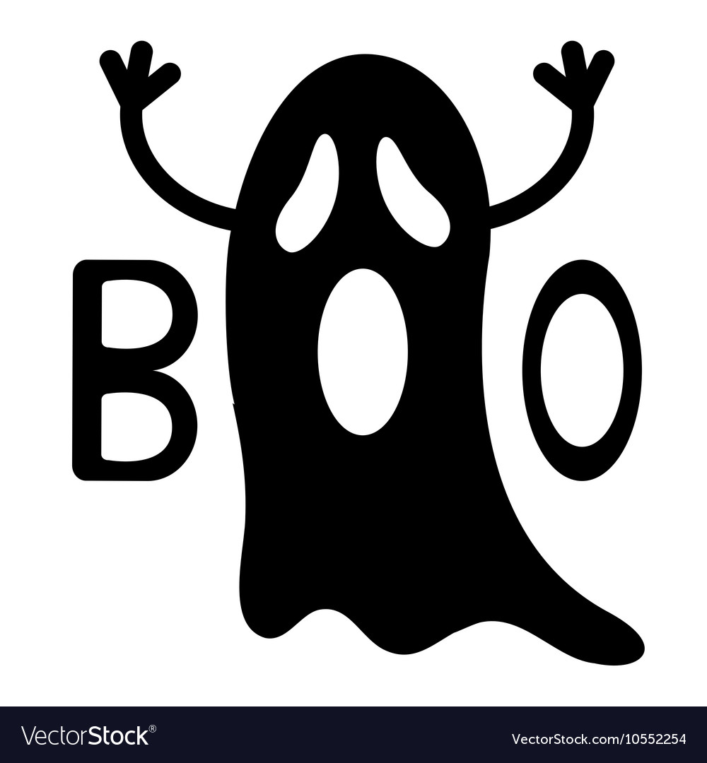 Happy Halloween Funny black flying ghost with.