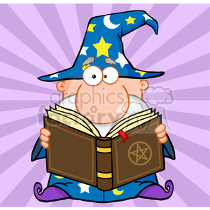 RF Funny Wizard Holding A Magic Book clipart. Royalty.