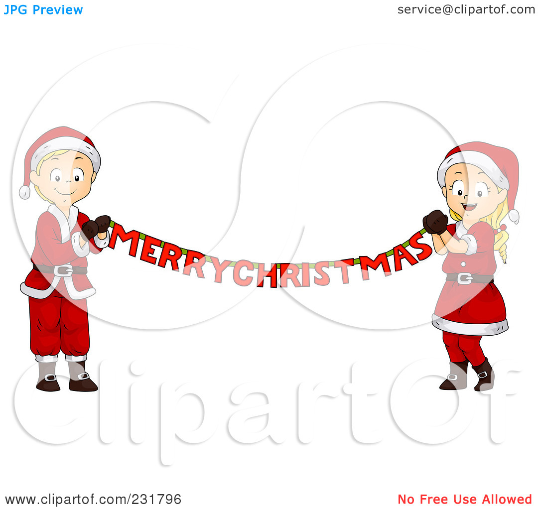 Funny Boy And Girl Hanging A Banner Clipart.