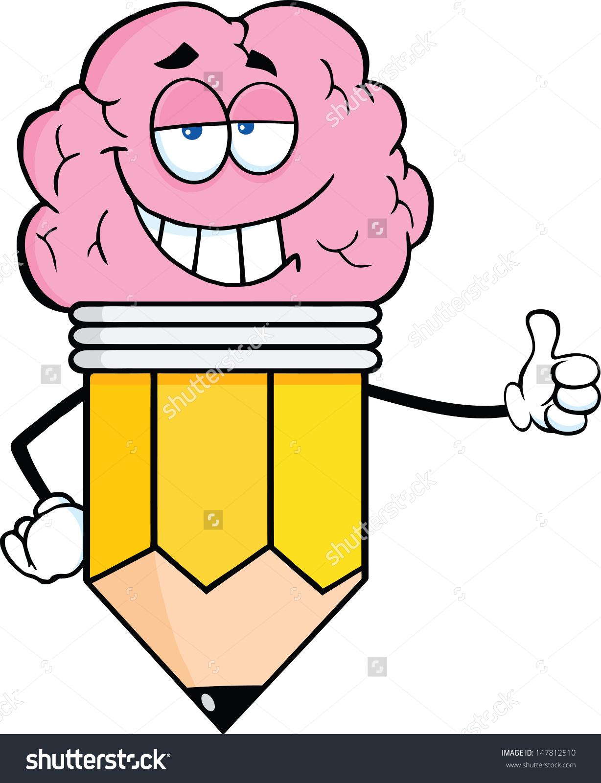 Clever Pencil Cartoon Character Big Brain Stock Vector 147812510.