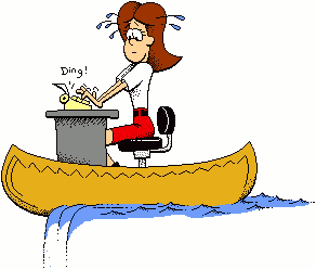 Canoeing Office Lady Funny Clip Art.