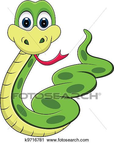 Funny snake cartoon Clipart.