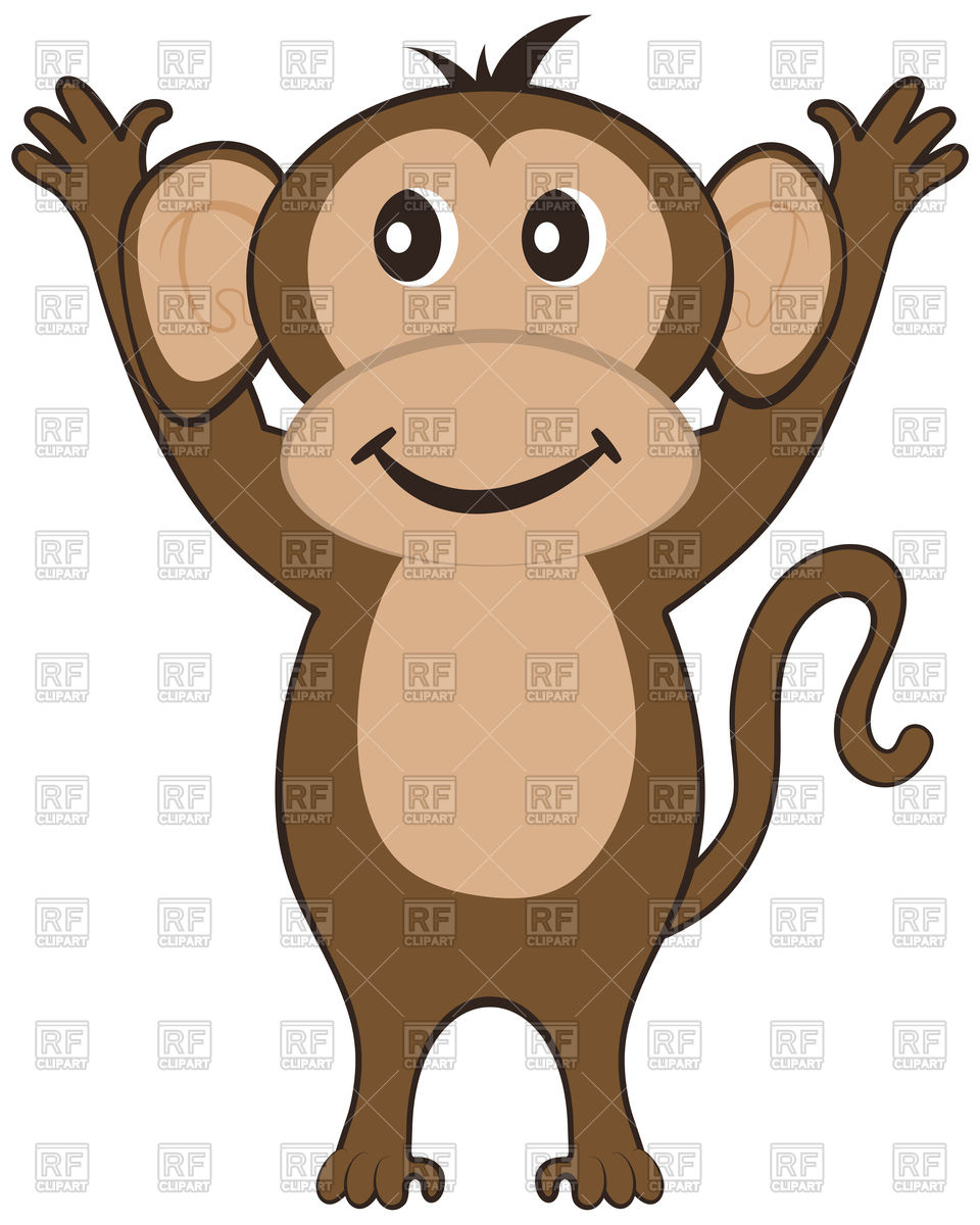 Funny cartoon monkey Stock Vector Image.
