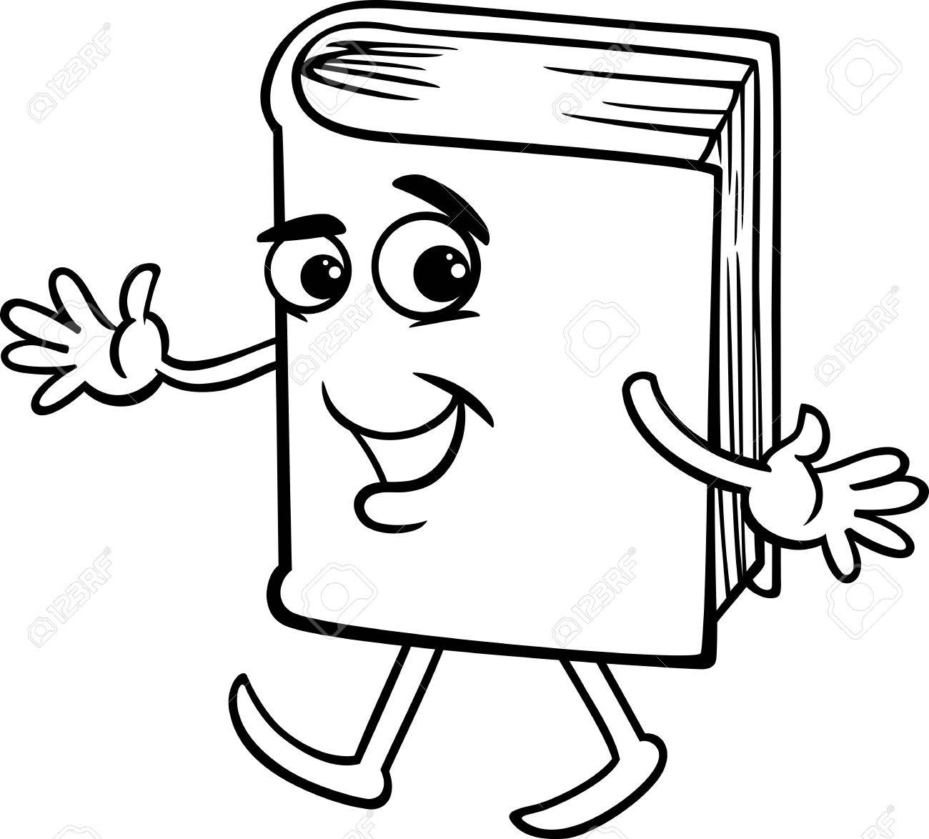 Black and White Cartoon Illustration of Funny Book Character...