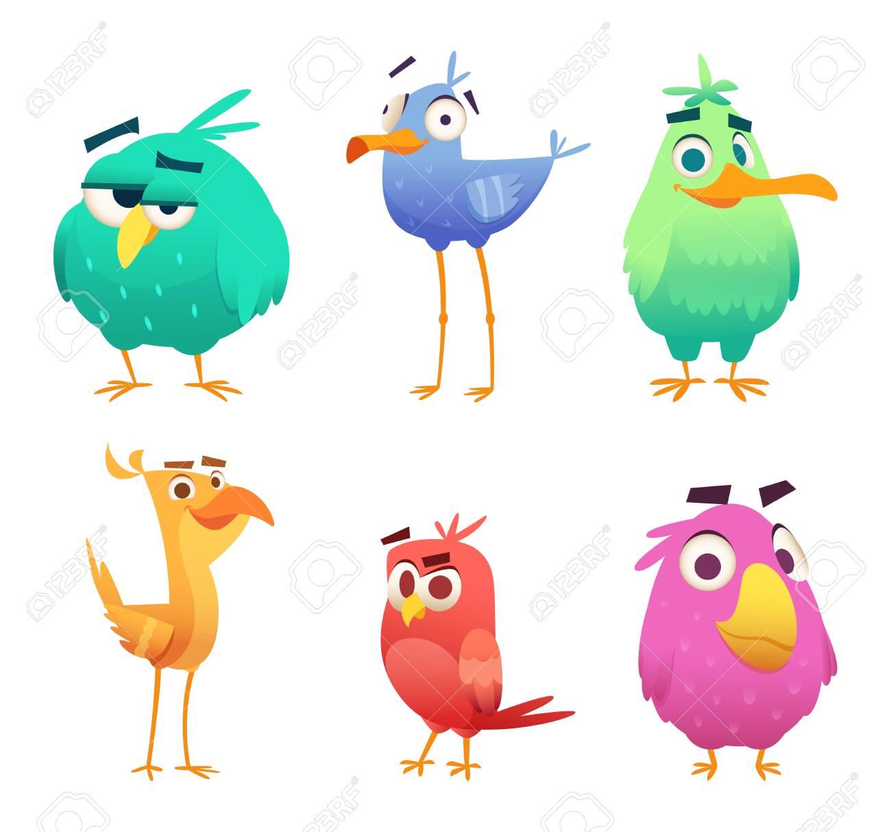 Cartoon funny birds. Faces of cute animals colored baby eagles...