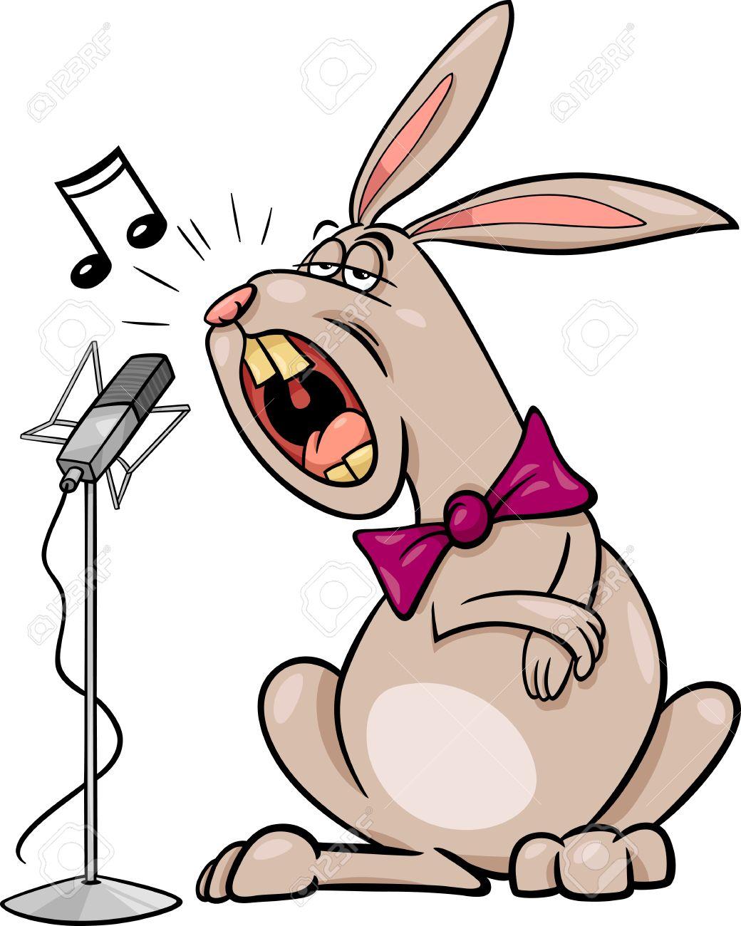 Cartoon Illustration of Funny Singing Rabbit Character.