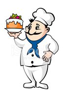 Funny Chef With Cake stock vectors.