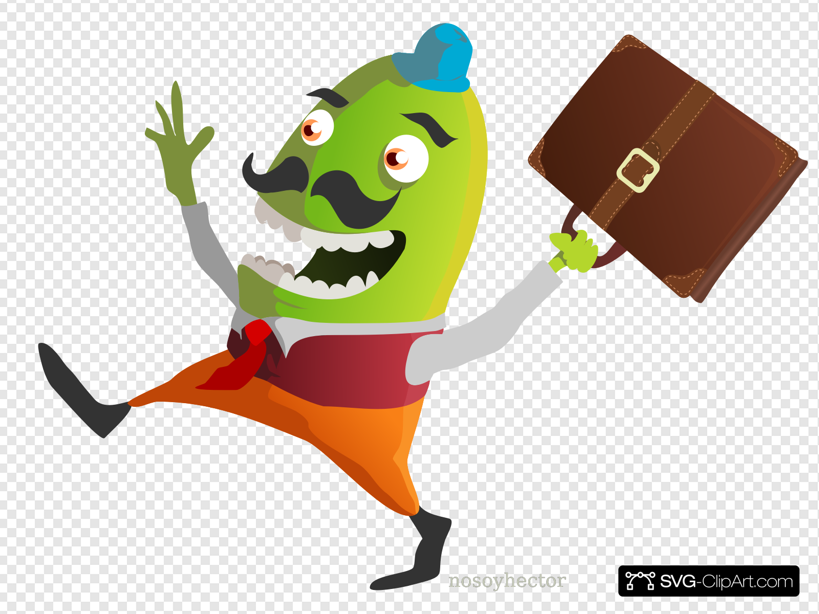 Funny Man Carrying Briefcase Clip art, Icon and SVG.