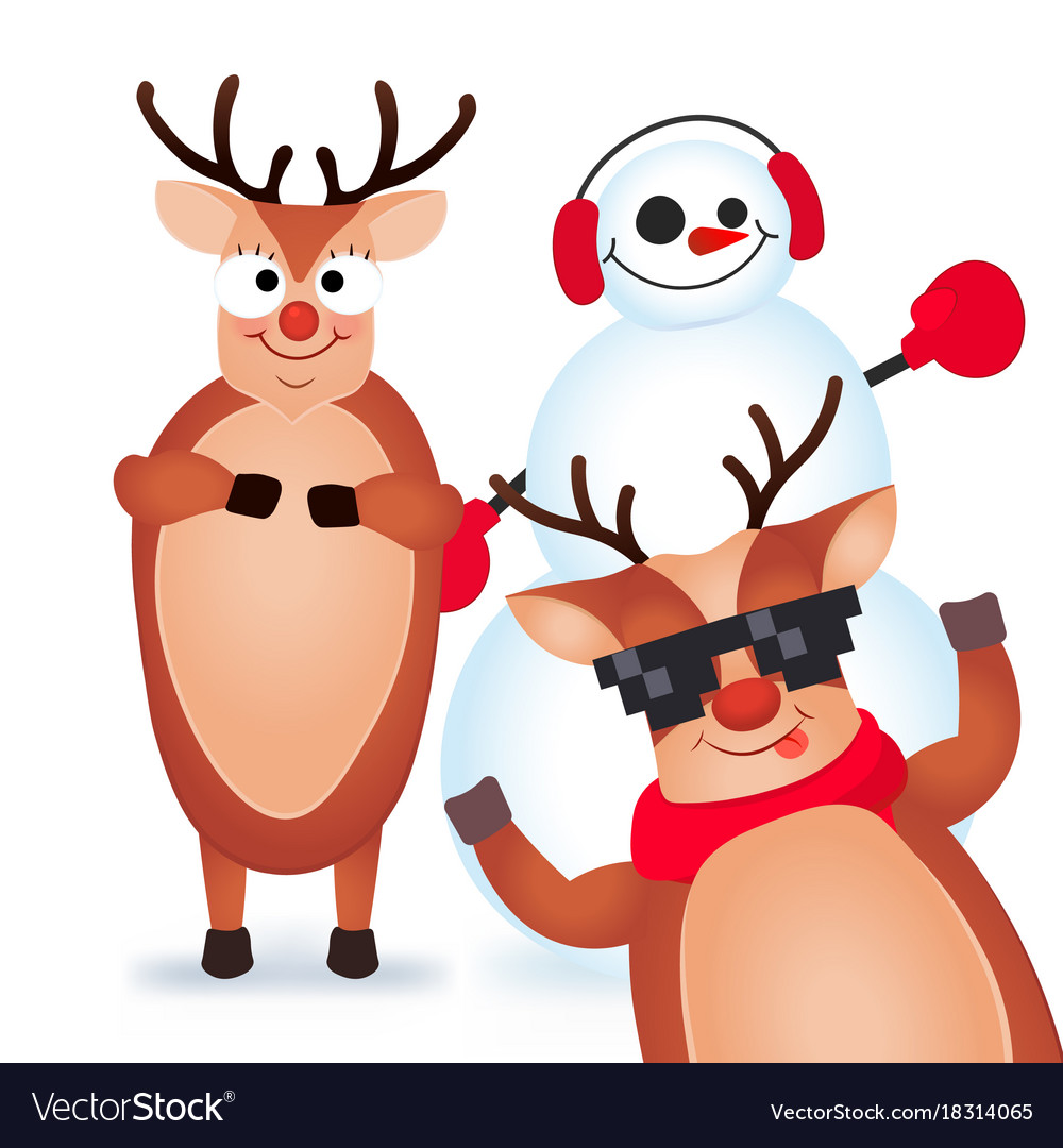 Cute and funny christmas card character deer and.