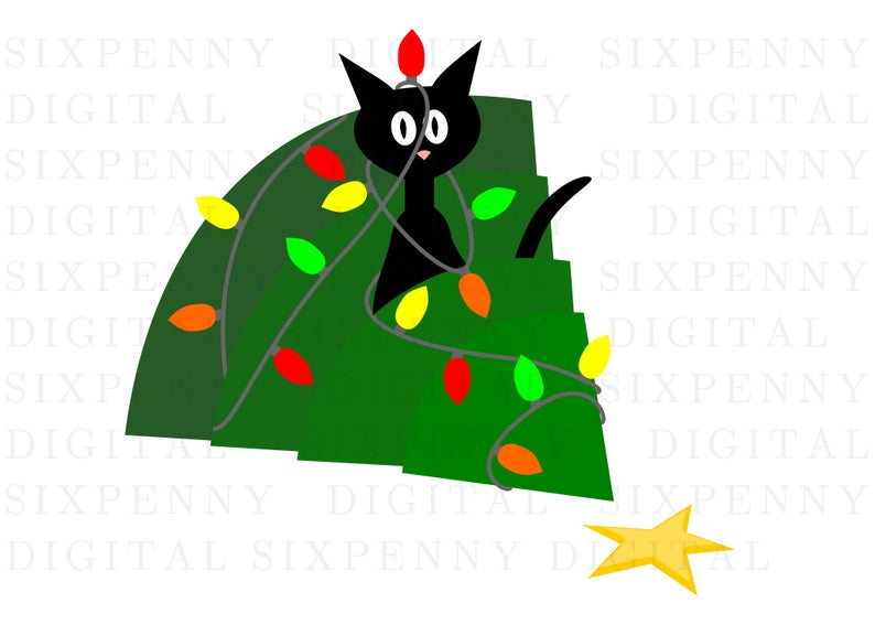 Black cat funny christmas card, cat in tree holiday card, mischievous  kitty, holiday card clipart, funny christmas clipart.