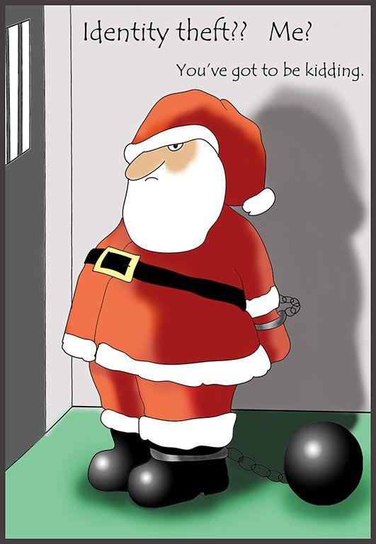 Funny Christmas card Santa in Prison.