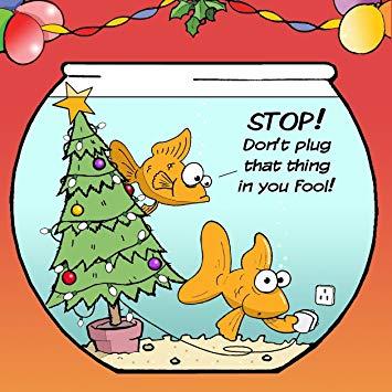 Twizler Merry Christmas Card with Goldfish, Christmas Tree and Plug.