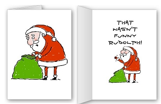 Rude Santa Funny Christmas Cards and shirts.