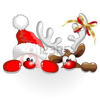 christmas reindeer: Funny Christmas Santa and Reindeer.
