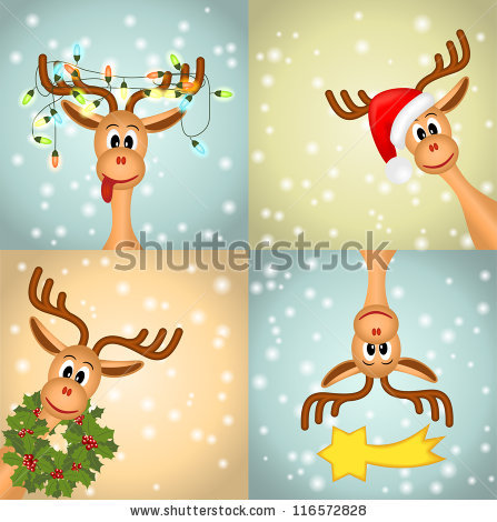Four Funny Christmas Reindeer.