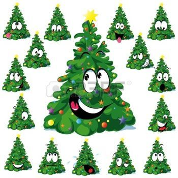funny christmas: Christmas tree cartoon with star Illustration.