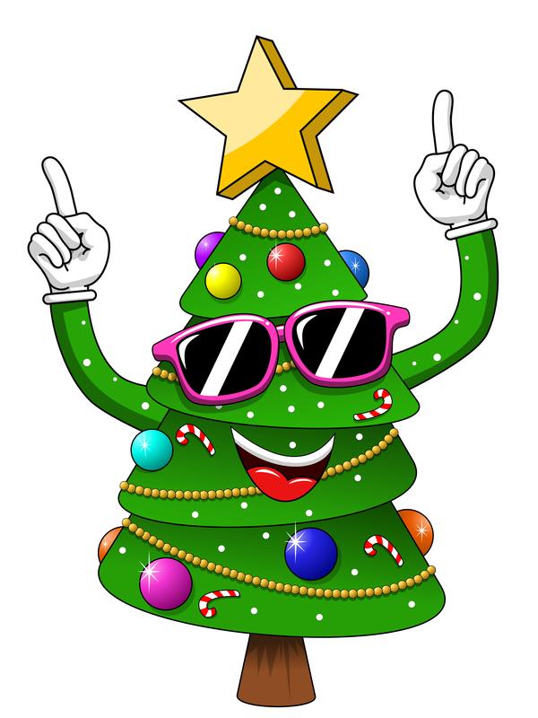 Funny cartoon christmas tree vector 07 free download.