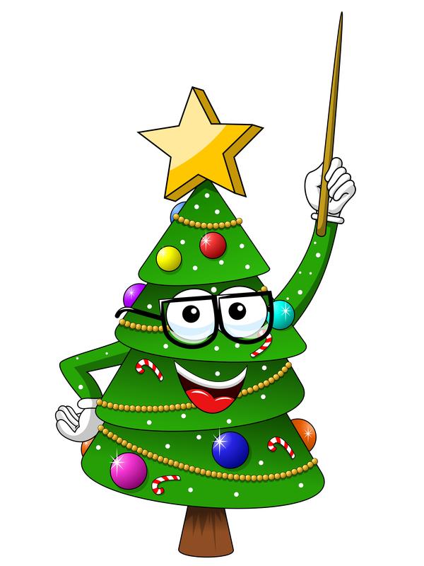 Funny cartoon christmas tree vector 03.
