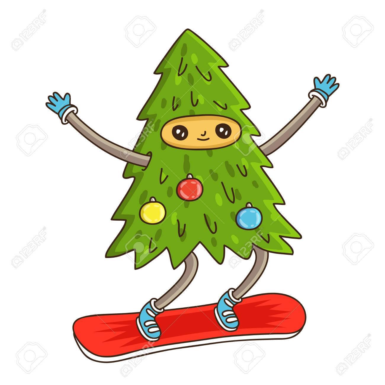 Cute and funny Christmas tree on a snowboard. illustration on...