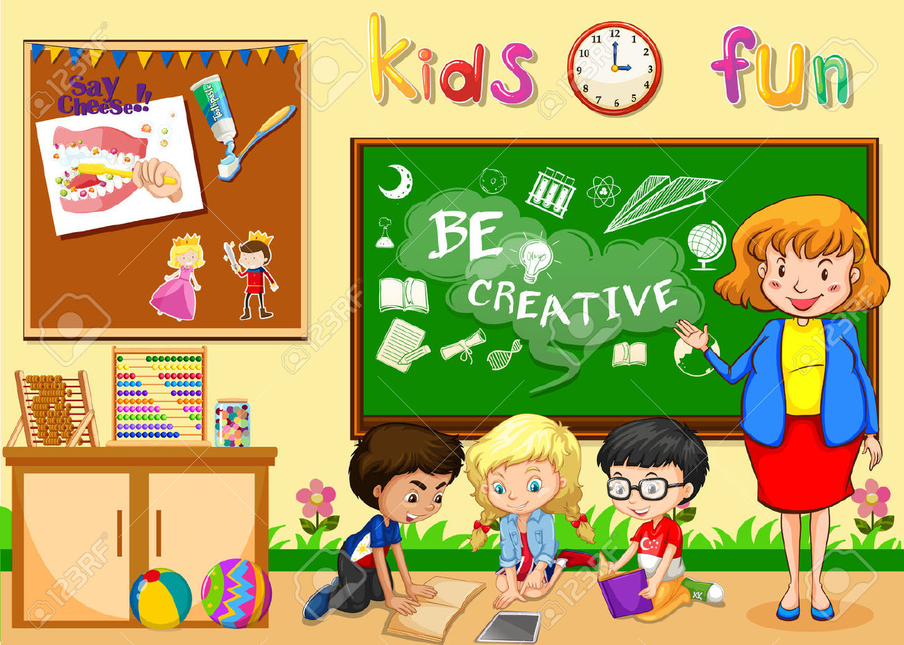 Kids Playing In Classroom Clipart.