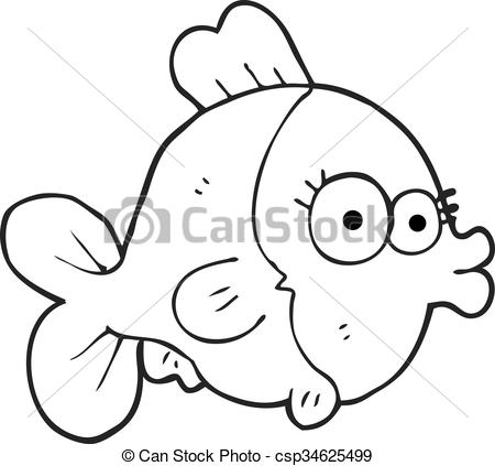 funny black and white cartoon fish.