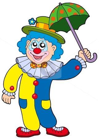 Funny clown holding umbrella stock vector.