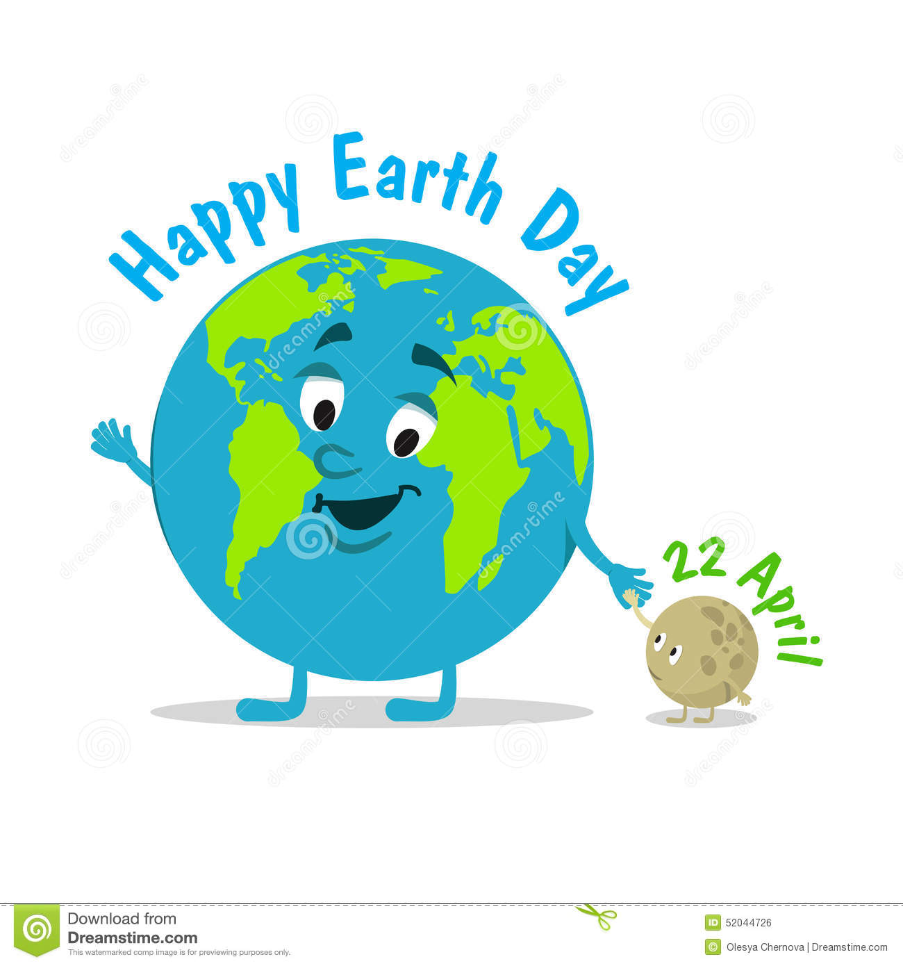 Earth Day. Caricature Funny Illustration Of The Earth On Stock.