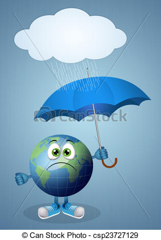 Clip Art of Funny earth with umbrella for rainy day.
