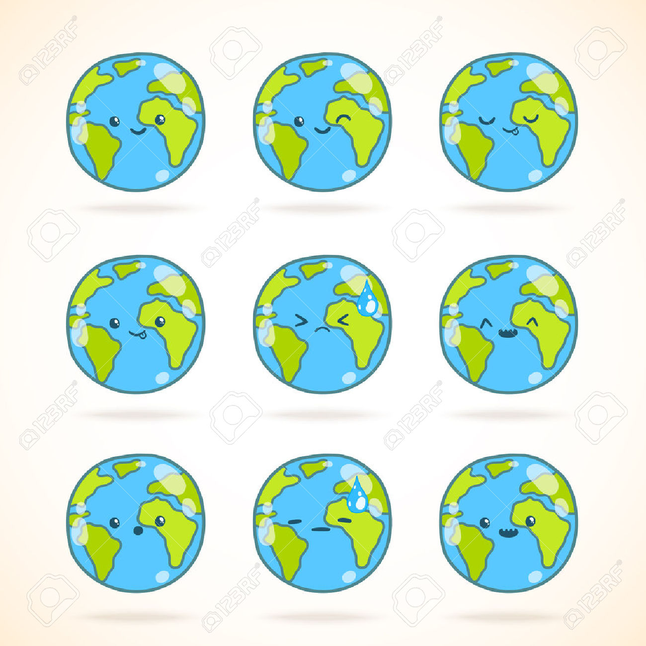 Cute Funny Cartoon Earth Globe With Face Emotions Set. Vector.
