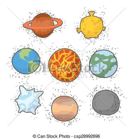 EPS Vectors of Set planets solar system. Funny cartoon planet.