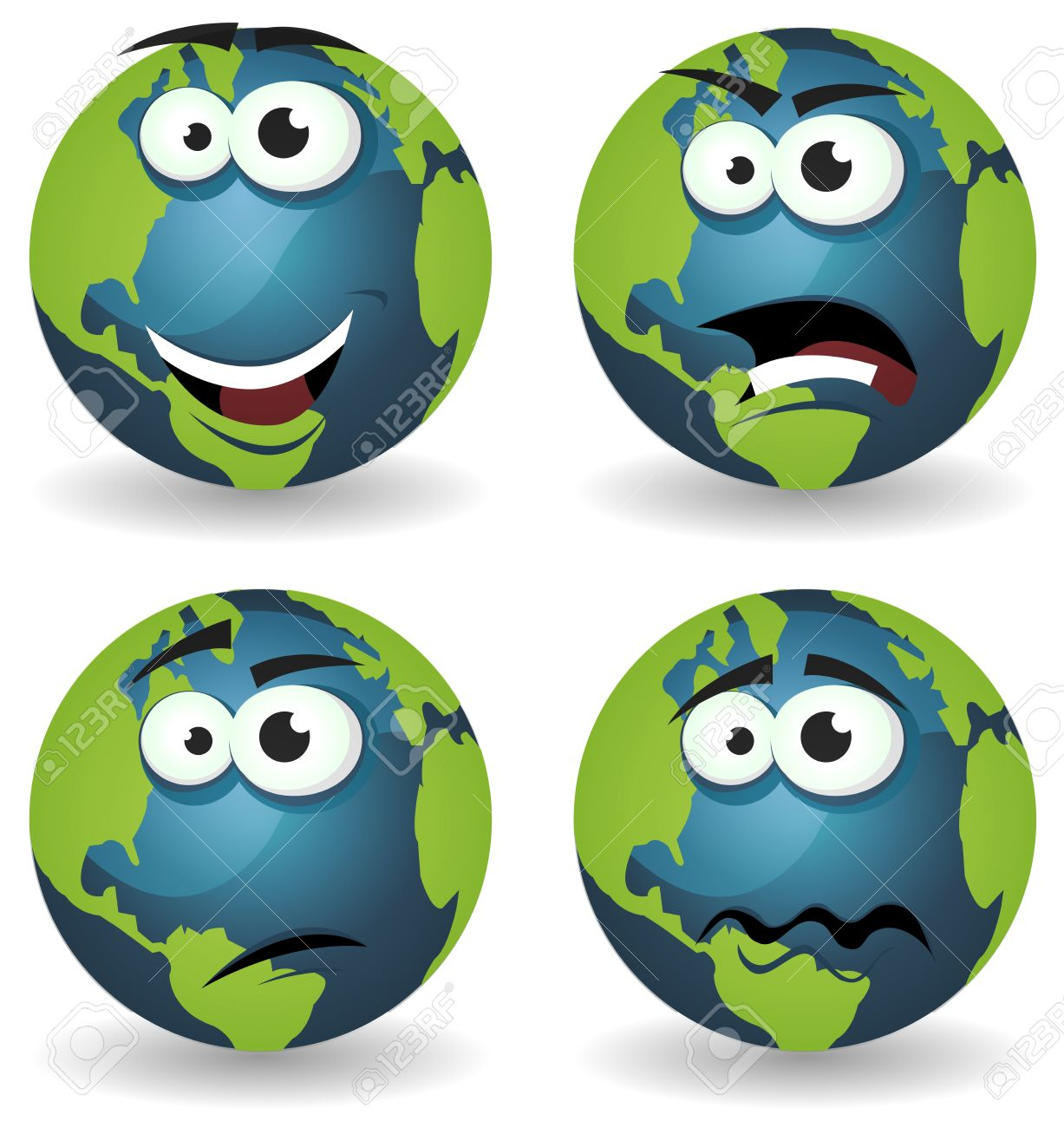 Illustration Of A Set Of Various Cartoon Funny Earth Symbol Icons.