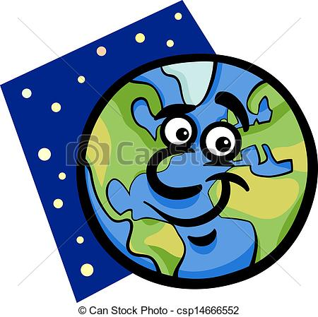 Clipart Vector of funny earth planet cartoon illustration.