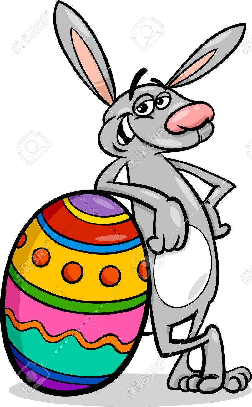 Cartoon Illustration of Funny Easter Bunny with Colored Egg.