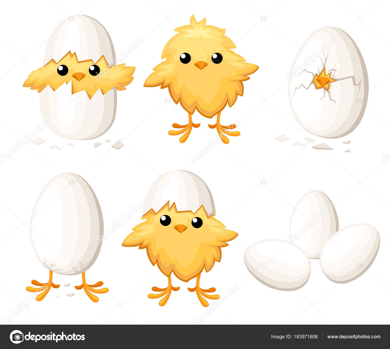 Set of funny chicken in egg for easter decoration cartoon vector.