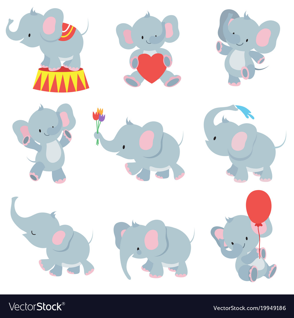 Funny cartoon baby elephants collection for.