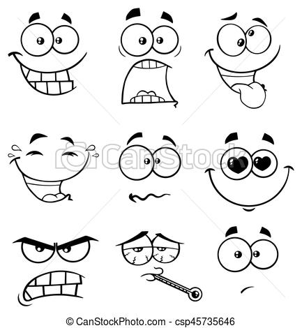 Black And White Cartoon Funny Face With Expression 2. Collection Set.