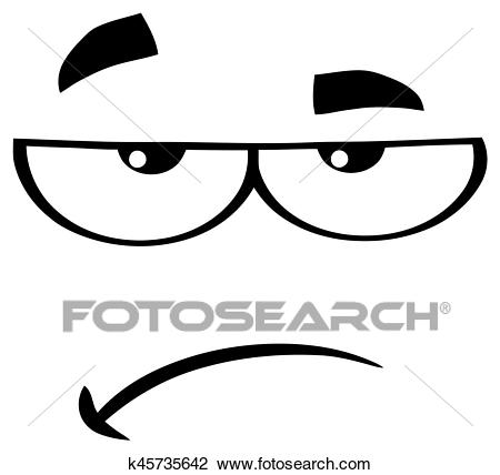 Black And White Grumpy Cartoon Funny Face With Sadness Expression Clipart.